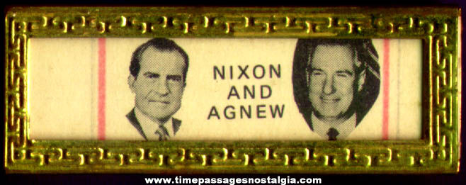 Old Nixon & Agnew U.S. Presidential Political Campaign Bar Pin