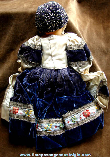 Old Celluloid Baby Doll With Fancy Dress & Beaded Hat