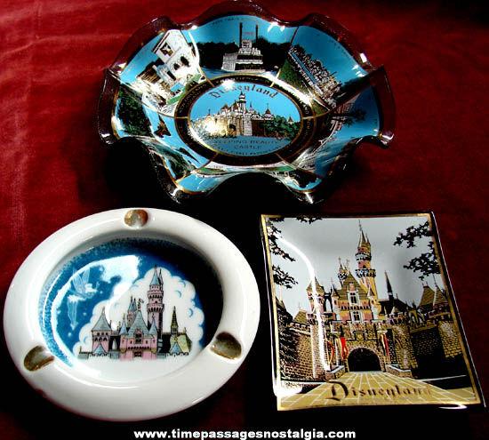 (3) Different Old Disneyland Theme Park Advertising Souvenir Glass Trays
