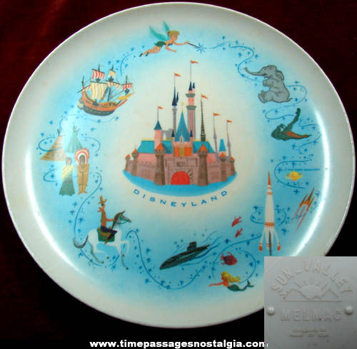 Colorful Old Disneyland Theme Park Advertising Souvenir Melmac Plate