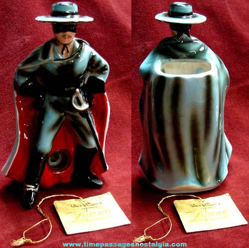 Rare 1950s Walt Disney Zorro Enesco Ceramic Pencil Holder