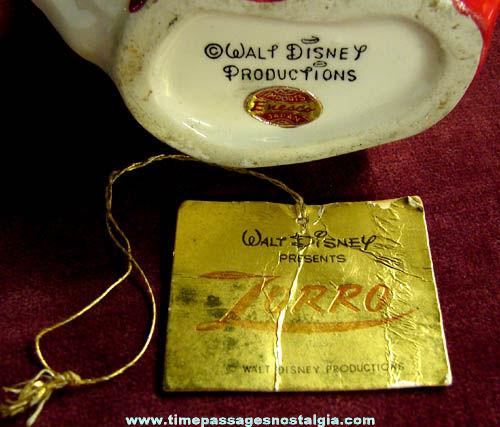 Rare 1950s Walt Disney Zorro Enesco Ceramic Pencil Holder & Sharpener
