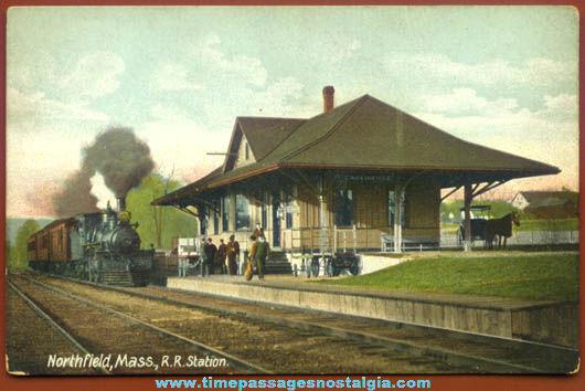 Old Unused Northfield Massachusetts Train & Station Post Card