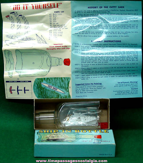 Old Boxed and Unbuilt Cutty Sark Ship in a Bottle Model Kit