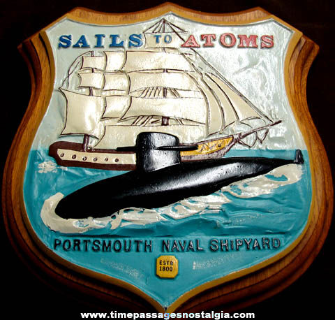 United States Navy Portsmouth Naval Shipyard Sails To Atoms Award Plaque