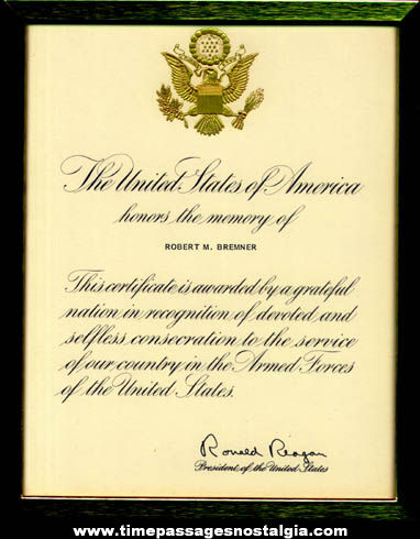 Framed U.S. President Ronald Reagan Military Honors Memory Certificate