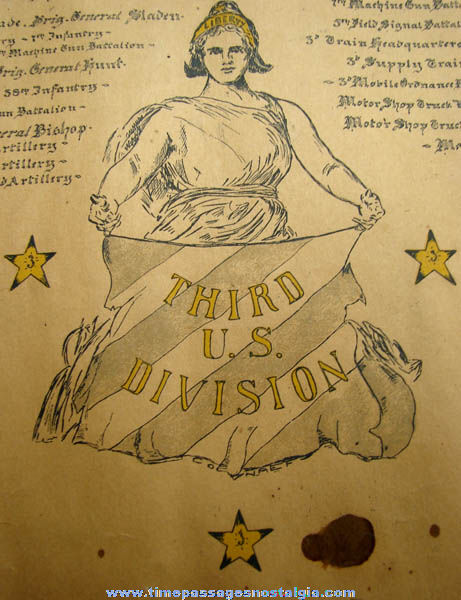 1918 World War I American Expeditionary Forces Graphic Historic Document