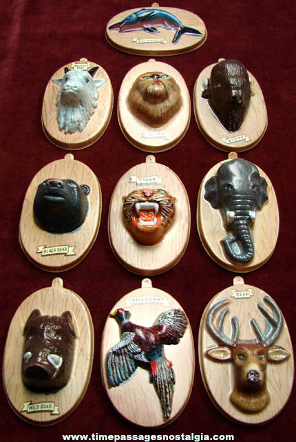 Complete Set of (10) 1950s Nabisco Cereal Wild Game Trophy Cereal Prizes