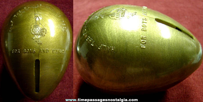 Old Red Goose Shoes Advertising Premium Golden Egg Coin Savings Bank