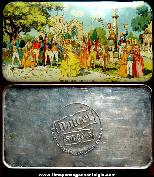 Colorful Old Dulcet Sweets English Candy Advertising Tin Container Box