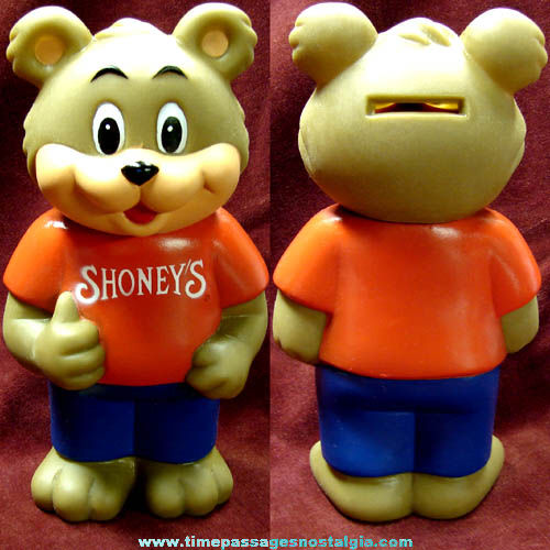 1993 Shoney's Restaurant Advertising Character Bear Coin Bank Toy Figure
