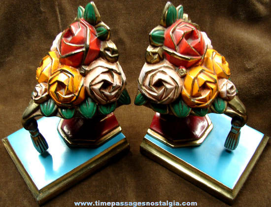Old Painted Brass Ronson Flower Arrangement Bookend Set