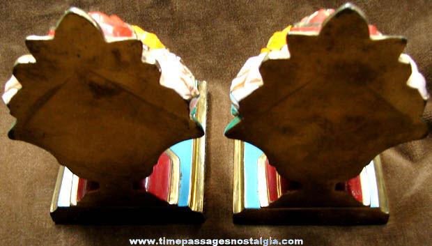 Old Painted Brass Ronson Flower Arrangement Bookend Set