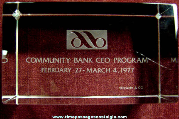 1977 Etched Tiffany Crystal Bank CEO Paper Weight Award
