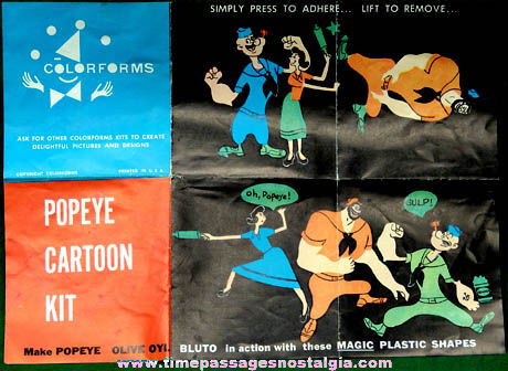 ©1957 King Features Popeye Character Colorforms Cartoon Kit