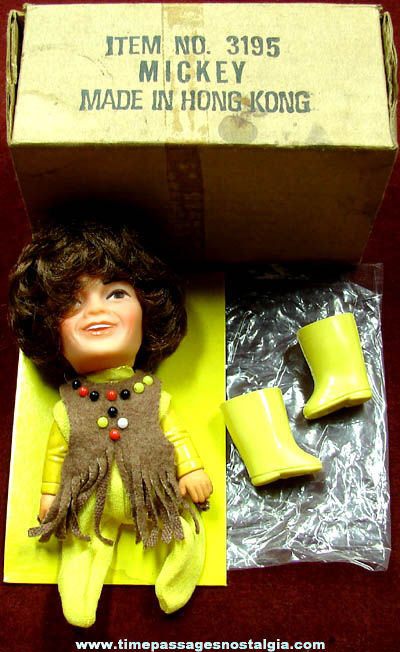 ©1970 Unused & Boxed Monkees Mickey Dolenz Character Finger Puppet Doll