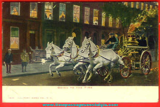 Unused Early 1900s Horse Drawn Fire Wagon Post Card