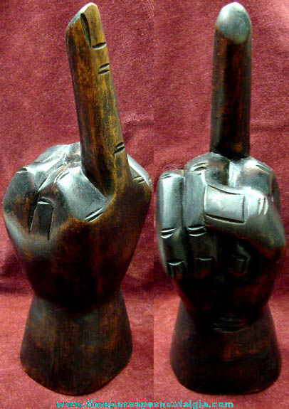 Hand Carved Wooden Middle Finger Statue