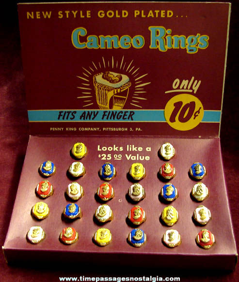 Old Unused & Full Penny King Cameo Toy Ring Store Display