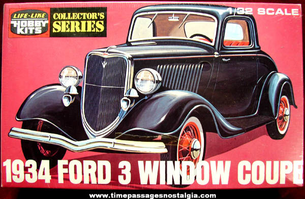 Old Sealed 1934 Ford Three Window Coupe Life Like Hobby Car Model Kit