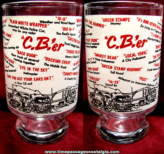 Large Old CB Radio Language Imprinted Drink Glass