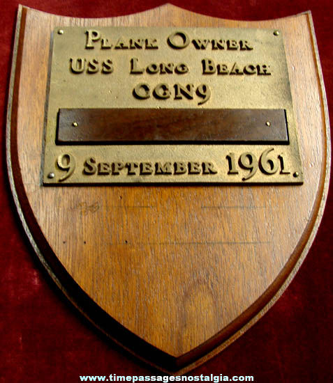1961 U.S.S. Long Beach CGN-9 United States Navy Plank Owner Wall Plaque
