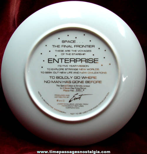 Numbered Limited Edition Star Trek Starship Enterprise Collector Plate
