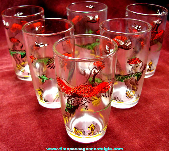 (6) Small Colorful Old Hunting Scene Juice Drink Glasses