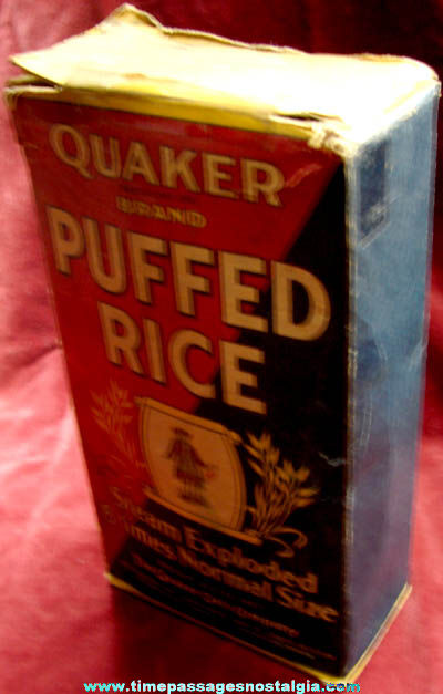 Complete Old Quaker Puffed Rice Cereal Box