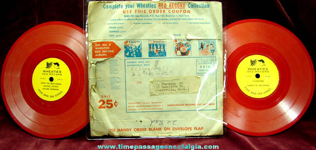 Complete 1950s Wheaties Cereal Record Box With Mail Away Premium Records