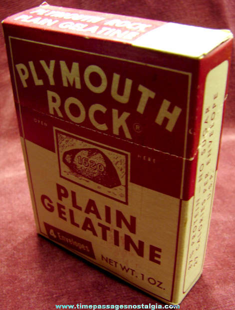Old Unopened Plymouth Rock Gelatine Box With Recipe Booklet