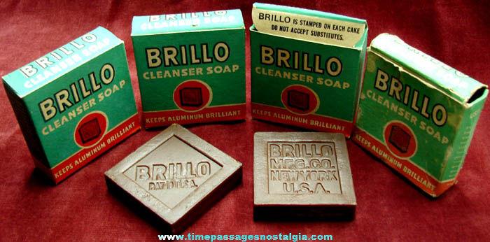 (4) Old Unused & Boxed Brillo Cleanser Soap Bars
