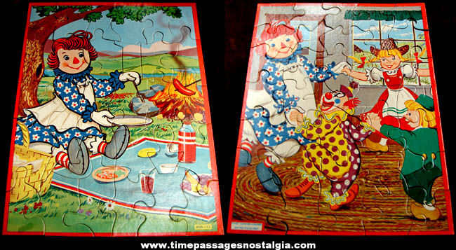 ©1954 Boxed Set Of (3) Raggedy Ann & Andy Jigsaw Puzzles