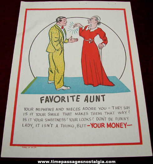 Old Salesman Sample Favorite Aunt Comic Valentine