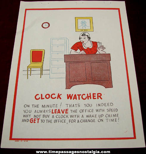 Old Salesman Sample Clock Watcher Comic Valentine