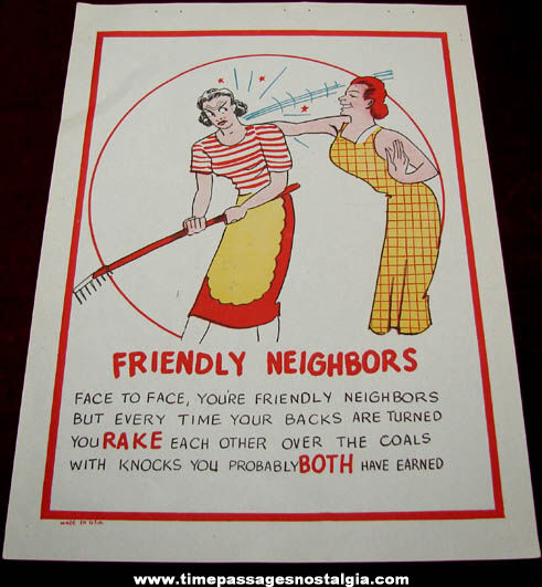 Old Salesman Sample Friendly Neighbors Comic Valentine