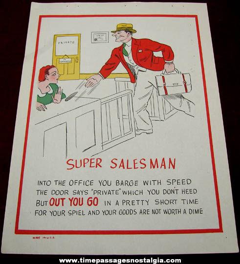 Old Salesman Sample Super Salesman Comic Valentine