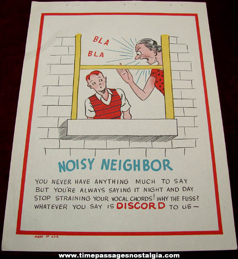 Old Salesman Sample Noisy Neighbor Comic Valentine