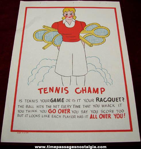 Old Salesman Sample Tennis Champ Comic Valentine