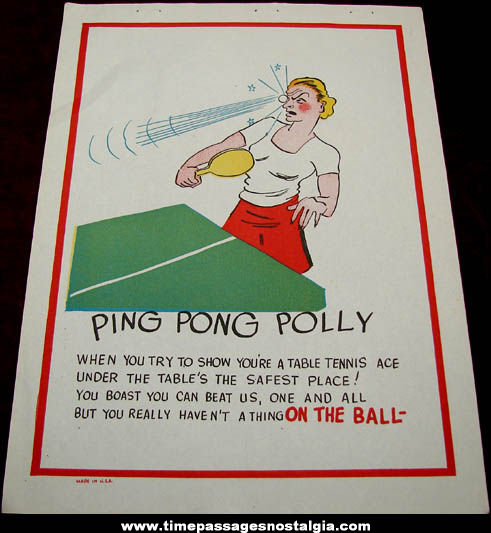 Old Salesman Sample Ping Pong Polly Comic Valentine