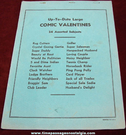 Old Salesman Sample Card Player Comic Valentine