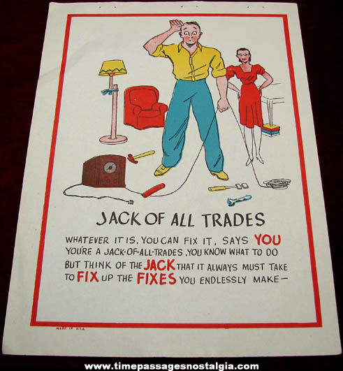Old Salesman Sample Jack of all Trades Comic Valentine