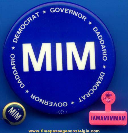 (7) Emilio Daddario Political Campaign Pin Back Buttons