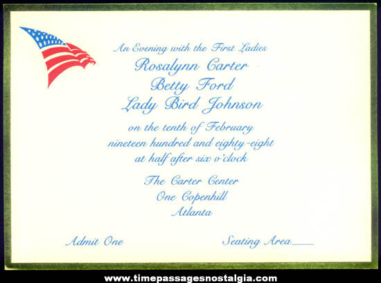 Unused 1988 United States President First Ladies Invitation Card