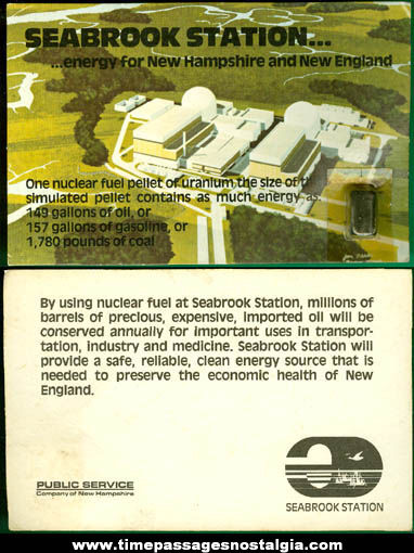 Old Unused Seabrook Nuclear Power Station Post Card With Attached Sample