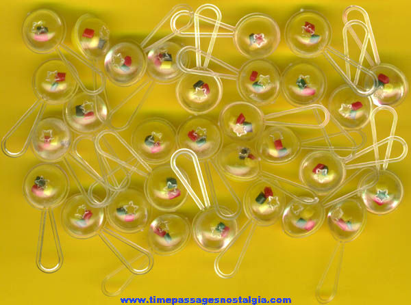 (30) 1960s Gum Ball Machine Prize Yellow Baby Rattle Toy Charms