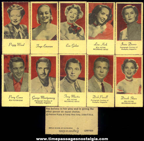 (10) Old Unused Peerless Weight Scale Movie Star Fortune Cards