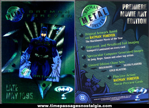 Large ©1995 Batman Forever Premiere Movie Art Edition Advertising Trading Card