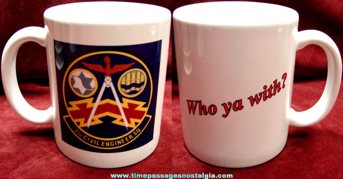 Old United States Air Force 3rd Civil Engineer Squadron Ceramic Coffee Cup