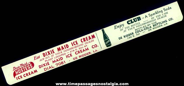 Old Dixie Maid Ice Cream & Club Soda Tin Advertising Paper Clip